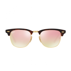 Ray-Ban Sunglasses Clubmaster RB3016 - Shiny Red/Havana (990/7O) Size 51 Copper Flash Gradient