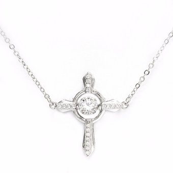 Silverworks N3847 Dancing Gem Cross Design Necklace 10916770