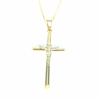 Stainless Steel Necklace With Cross Jesus Pendant (Gold) With Free Stainless Steel Mini Cross Stud Earring