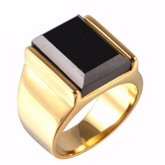 Stainless Steel Retro Black Faux Onyx Ring (Gold/Black)