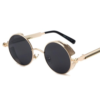 Steampunk Sunglasses High Quality Retro Women Round Peekaboo Gold color Metal Frame Black Lens Sun Glasses Male Female Sun Shade Uv400(Gold Frame+Black Lens) - intl