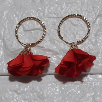 Tassel Earring Round Rose Gold with flower petal color Red