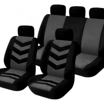 Universal Car Seat Cover Set 9Pcs Seat Covers Front Seat Back Seat Headrest Cover Mesh Black and Gray