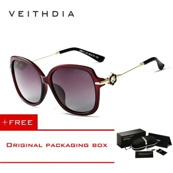 VEITHDIA TR90 Women's Driving Sun glasses Polarized Mirror Lens Luxury Ladies Designer Sunglasses Eyewear For Women 8011 (red) [ free gift ]