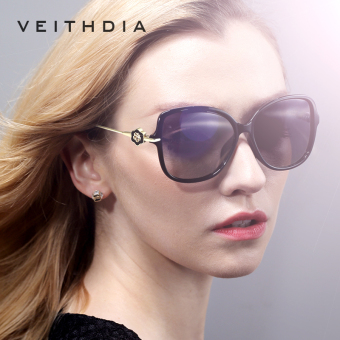 VEITHDIA TR90 Women's Driving Sun glasses Polarized Mirror Lens Luxury Ladies Designer Sunglasses Eyewear For Women 8011(Black)