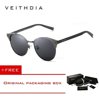 VEITHDIA Unisex Retro Aluminum Brand Sunglasses Polarized Lens Vintage Eyewear Accessories Sun Glasses Oculos For Men Women 6109 (Grey grey) [ free gift ]- intl