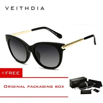 VEITHDIA Vintage Large Sun glasses Polarized Cat Eye Ladies Designer Women Sunglasses Outdoor Eyewear Accessories Female 7016 (Black) [ free gift ]