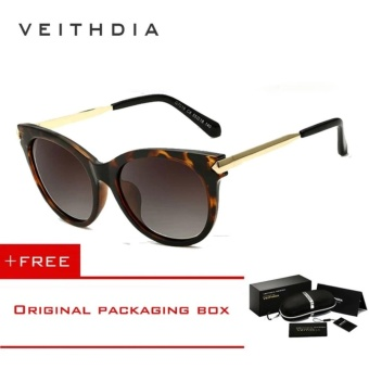 VEITHDIA Vintage Large Sun glasses Polarized Cat Eye Ladies Designer Women Sunglasses Outdoor Eyewear Accessories Female 7016 (Brown) [ free gift ]