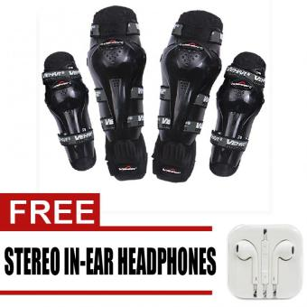 Vemar Racing Knee Shin Elbow Body Guard Armour Support MotorcycleDirt ATV Racing Gear Pads with free Stereo In-Ear Headphone (White)