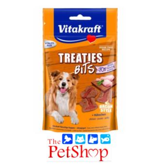 VitaKraft Dog Treats 120g Treaties Bits Chicken Bacon Style