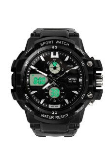Waterproof Multi Function Military S-Shock LED Sports Watch Alarm Black
