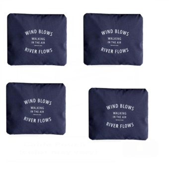 Wind Blows Folding Carry Bag (Navy Blue) Set Of 4 with Free Free Security Credit Card Wallet (Green)