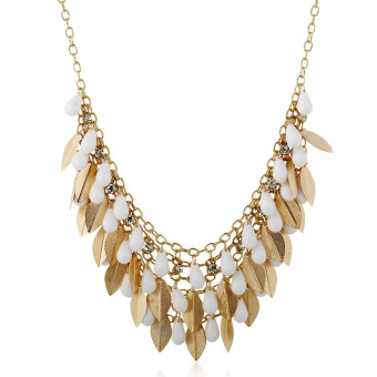 X261 European and American tassled drop leaves exaggerated necklace