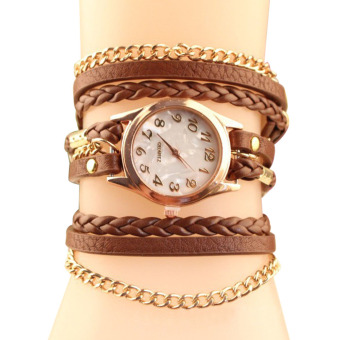 YBC Fashion Women Retro Quartz Bracelet Watch With Knit Leather Brown