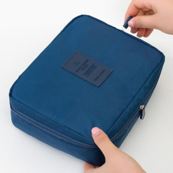 Zipper Nylon Man Women Makeup Bag Storage Travel Wash Pouch Toiletry Bag Cosmetic Bag NO.9 (Blue) - intl
