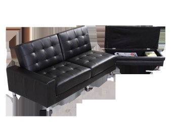 Furniture Source Leather Sofabed with Foot Stool Storage