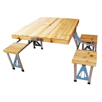 Portable Folding Picnic Table Wooden Brown Lazada PH