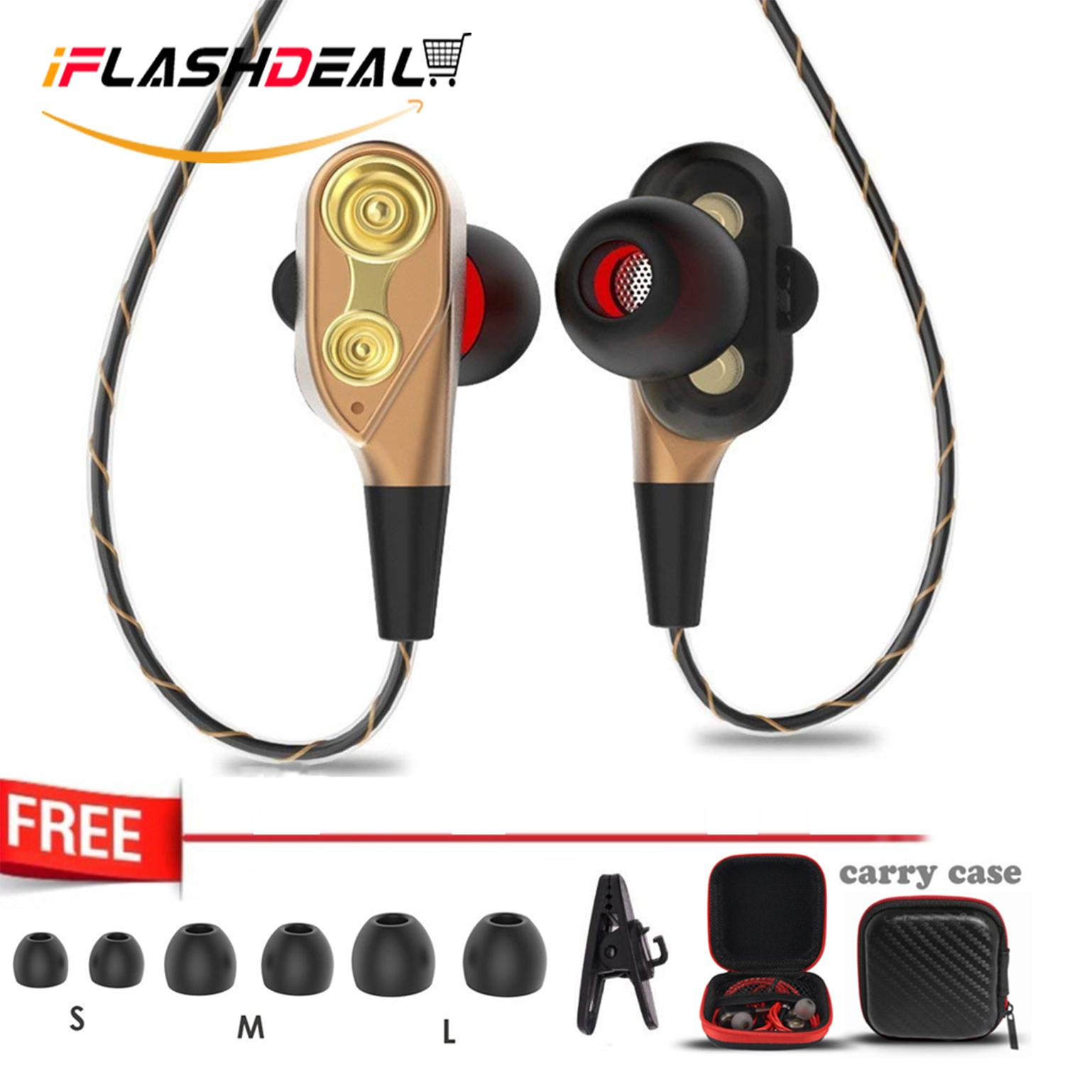 iFlashDeal In-Ear Headphones Wired Earphone Earbuds Dual Dynamic Drivers Earphones with Mic Strong Bass and Noise Reduction Volume Control Headset and Case for Cellphone