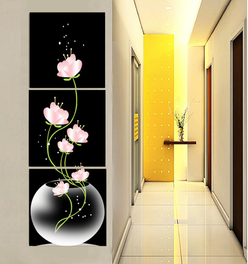 New 3 Panels Beautiful Flowers Printed On Canvas For Entryway Black ...