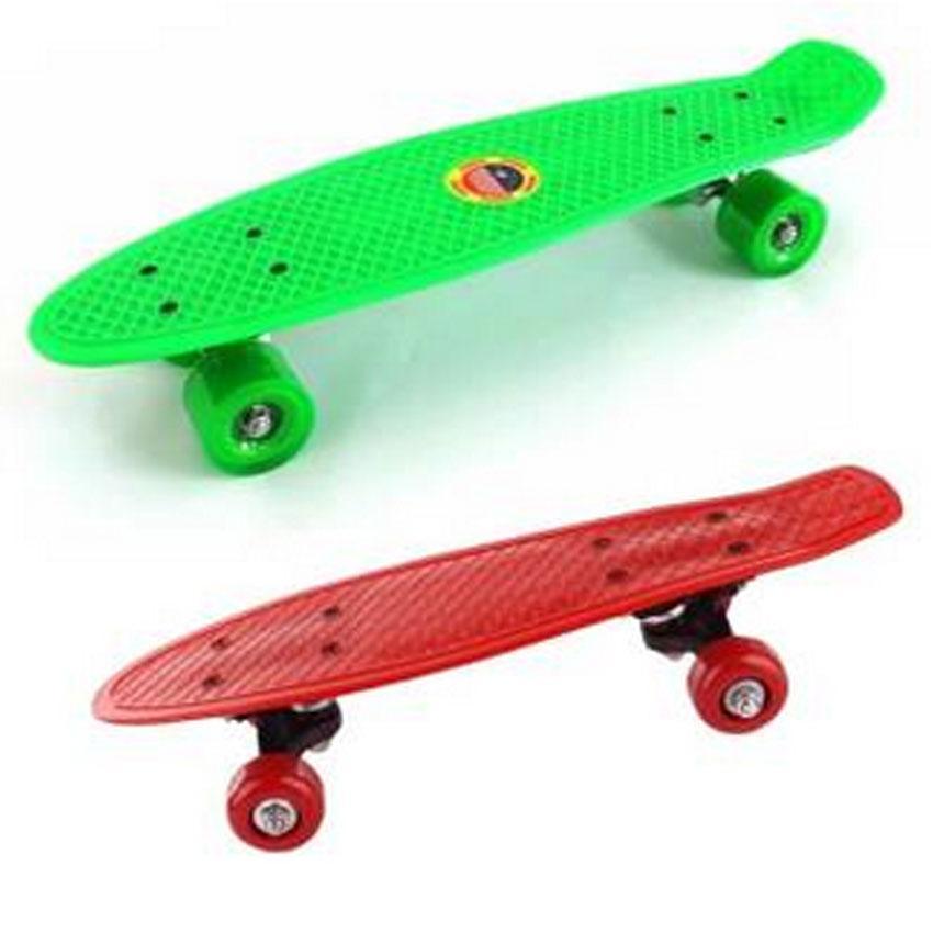 21 Plastic Skateboard Green With Skate