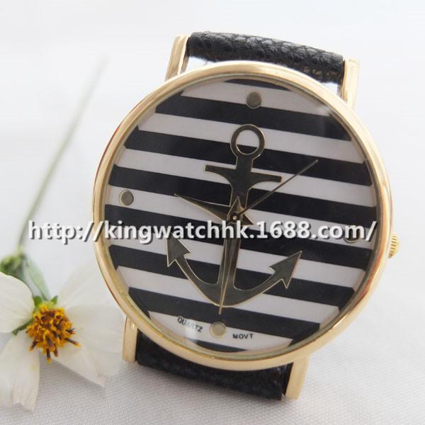 Ebay Hot Striped Anchor Watch Anchor Watch Mode hitam dan putih