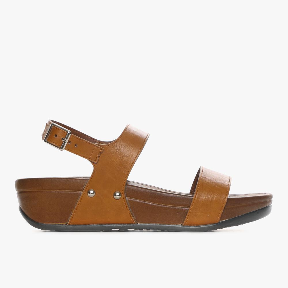 Parisian Ladies Beth Wedge Sandals (Tan)