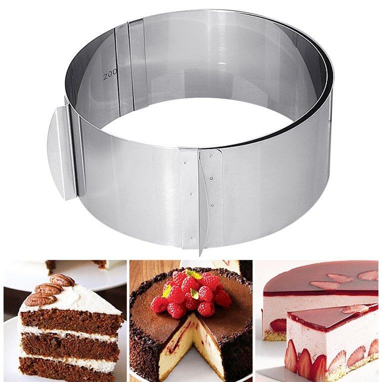 Disesuaikan Bentuk Lingkaran Bulat Kue Baja Anti Karat Cincin Mousse Cetakan