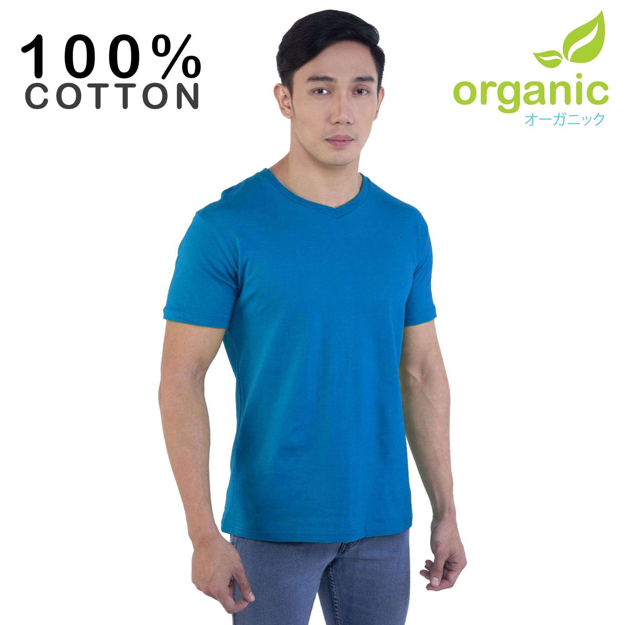 Organic Mens 100% Cotton Vneck (Blue) Tees t shirt tshirt shirts tshirts v