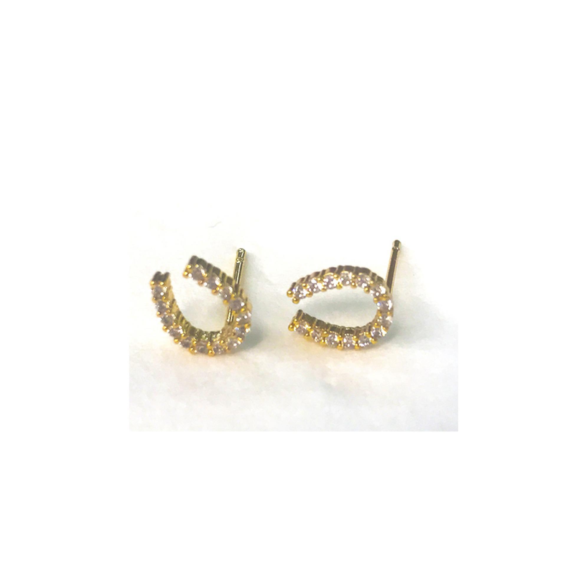 Horse Shoe Stud Earrings In Gold