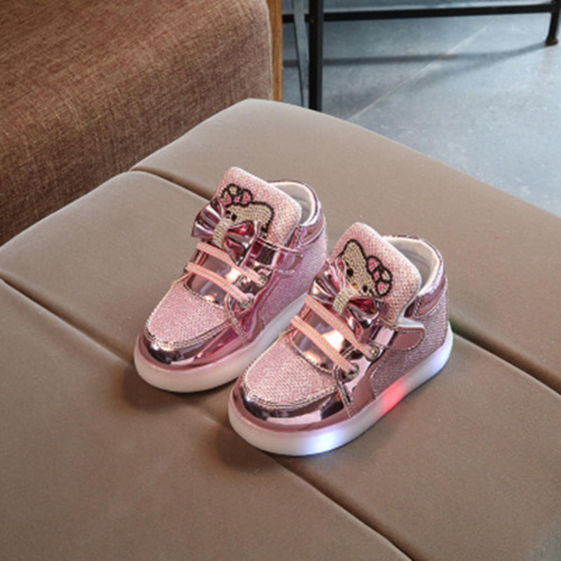 Ardour Children Gift Girls Kitty Led Light Up Kids Sneaker