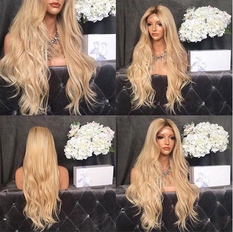 Detail Gambar Europe women big wave long curly hair Blonde golden wig Rambut palsu Terbaru