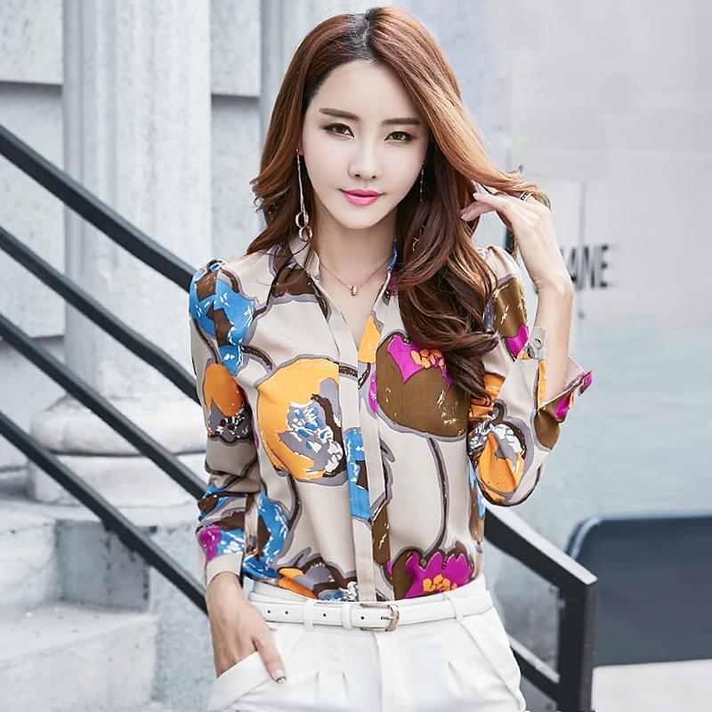 Kemeja Lengan Panjang Versi Korea untuk Perempuan V-neck