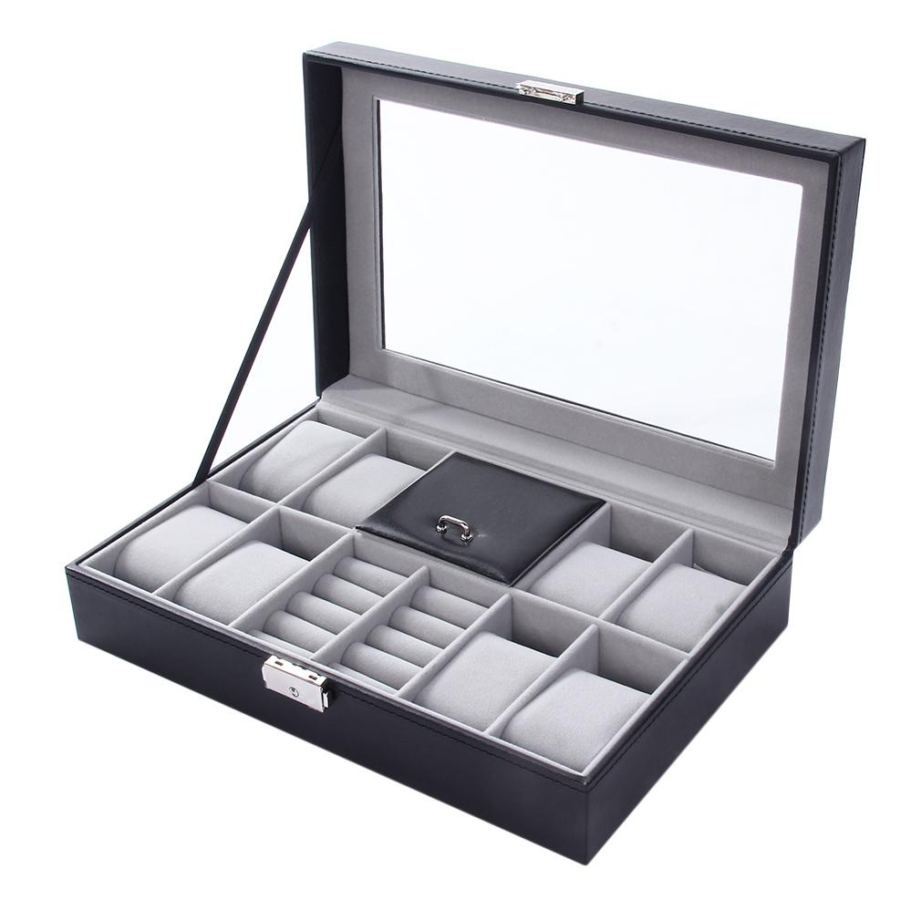 d6e2c3b8b6d7 2 In One 8 Grids Watch Storage Organizer Box And Ring Collection Boxes Black