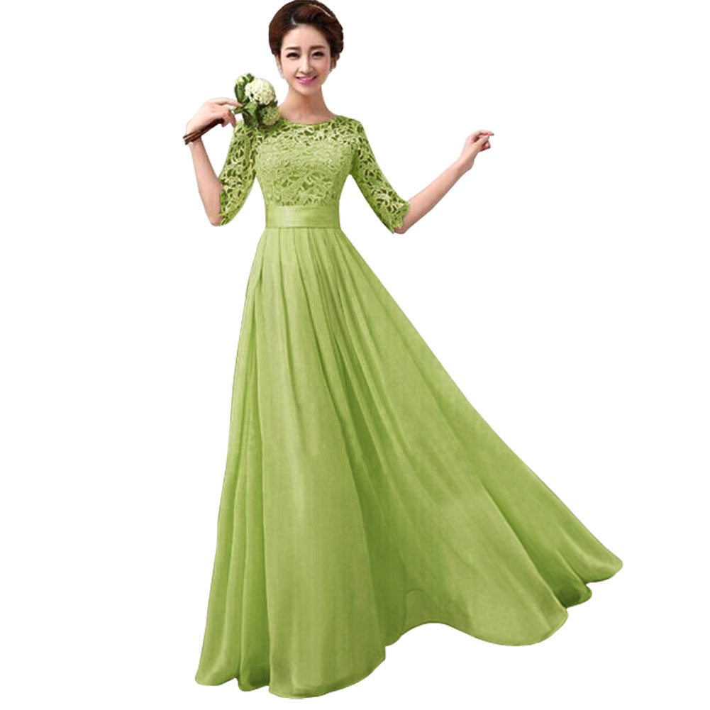 YBC Women Elegant Long Dress Long Sleeve Formal Evening Party Gown ... 5bc4324cf3