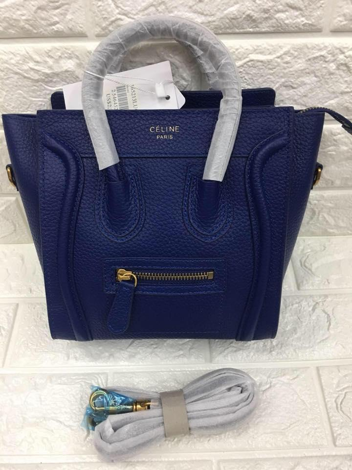 Celine Paris Authentic Nano Size Luggage Tote Bag (Blue) 8ad6a57398772