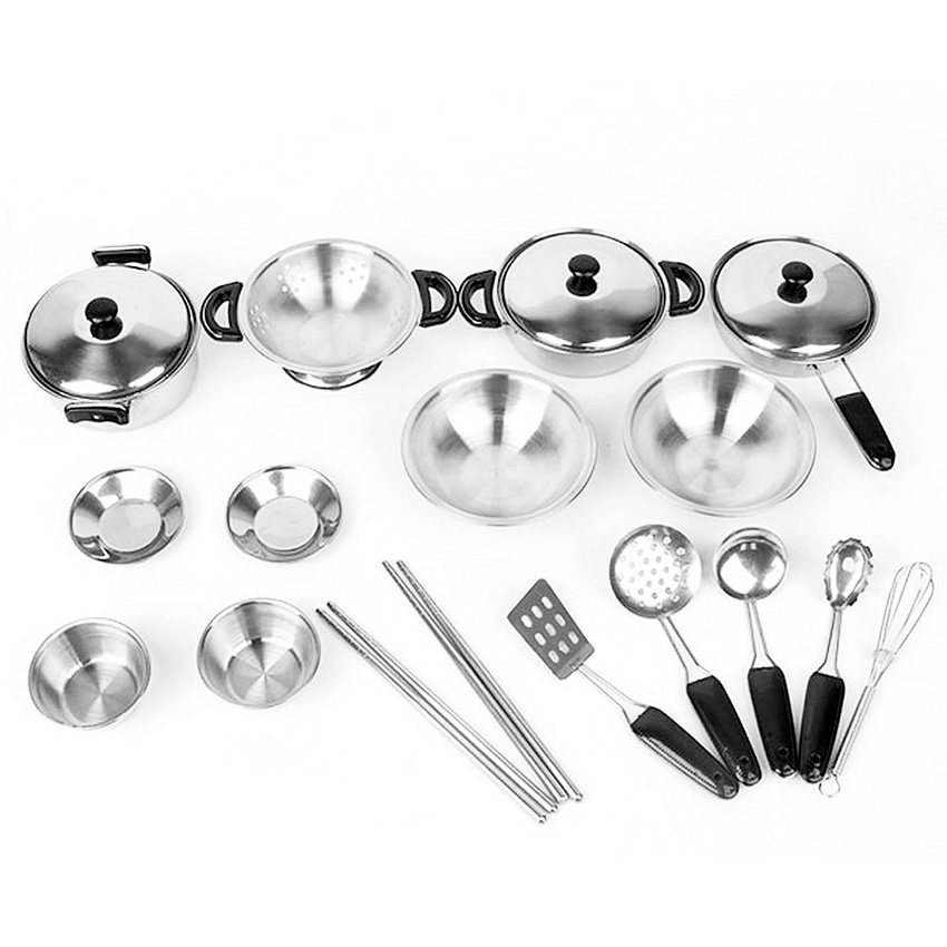 Pretend Play Toys Stainless Steel Mini Kitchen Cookware Utensils Playset