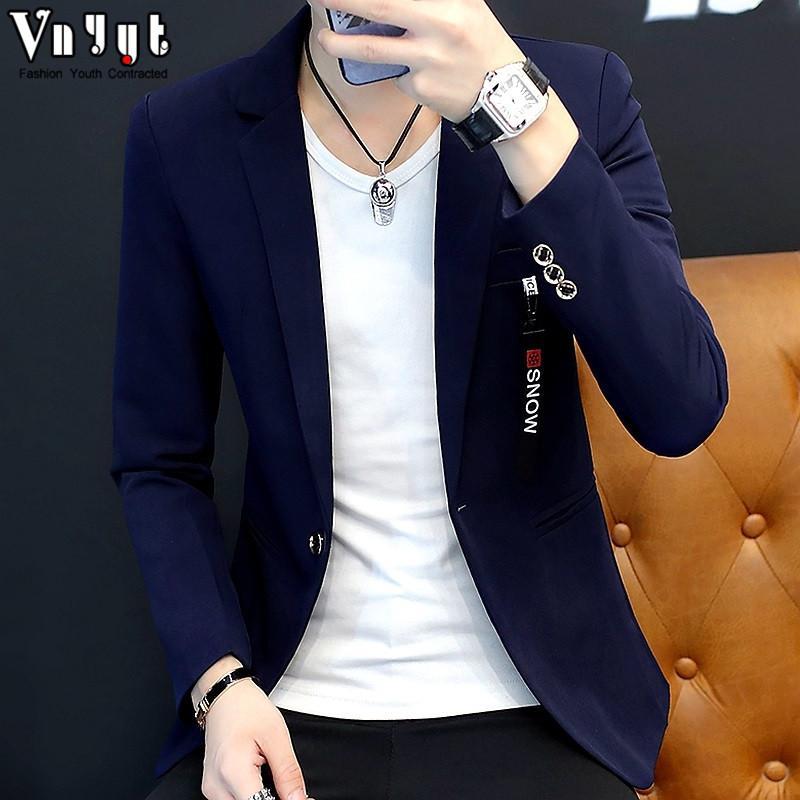 Pria kepribadian casual Setelan formal sosial pria Gaya Korea model Slim Setelan jas kecil Tren semangat