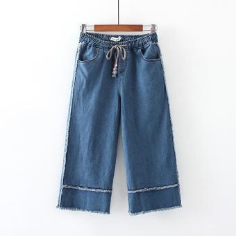 Beli sekarang Tambah besar baju wanita 200 pon mm Celana Terlihat Langsing  longgar Celana kulot celana selutut adik perempuan gemuk celana jeans wanita  ... 401253f262