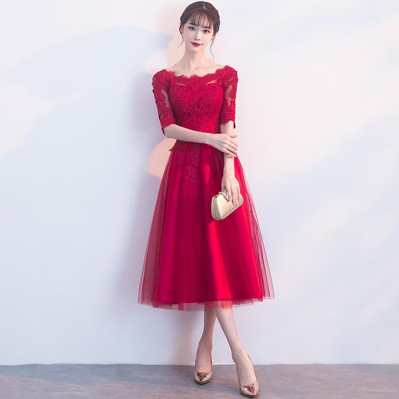Baju Pelayanan Gaun Pengantin Warna Merah Model Baru Musim Semi