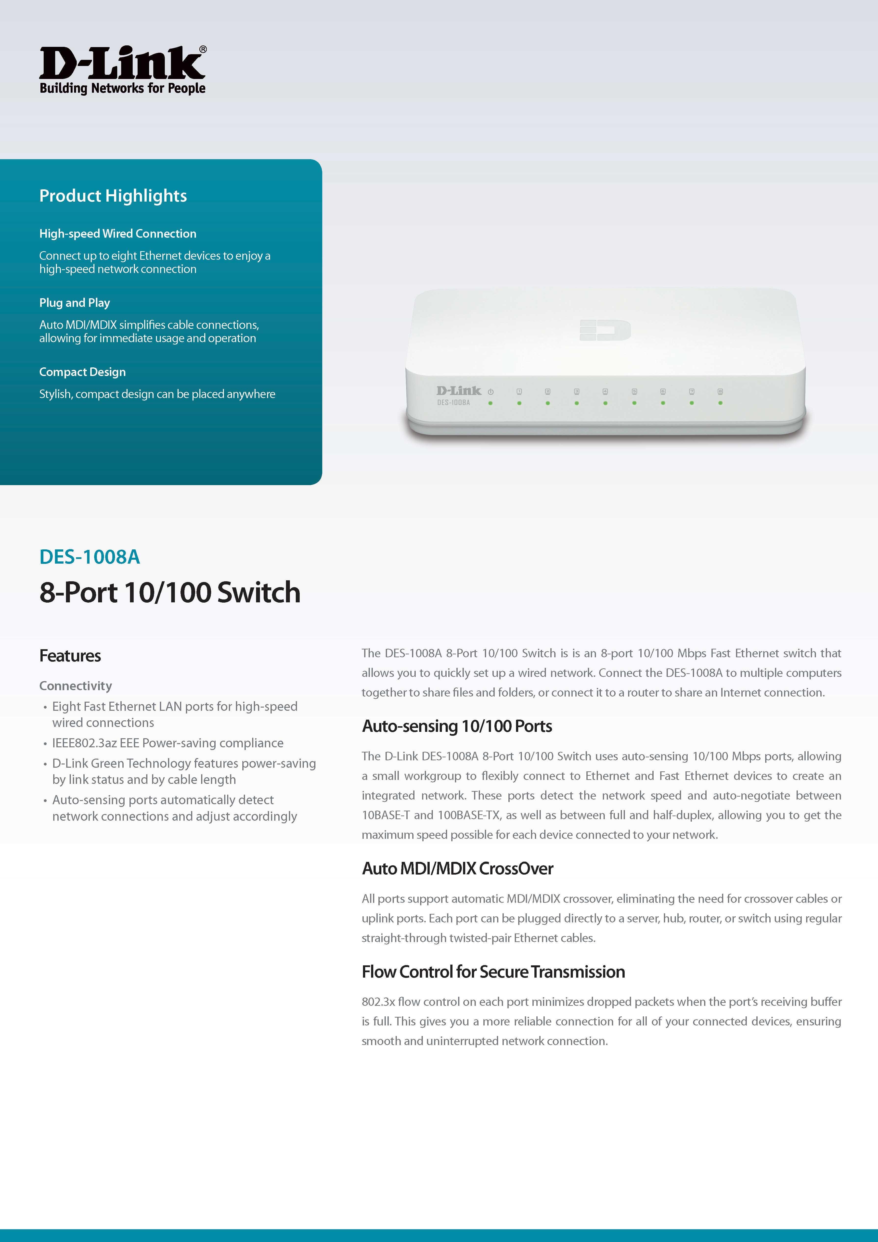 D Link Des 1008a 8 Port 10 100 Desktop Switch Lazada Ph Hub Ethernet Specifications Of