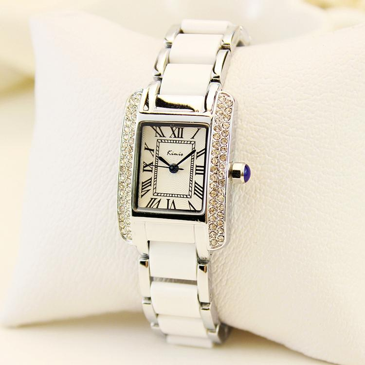 Model baru kota modis kepribadian jam tangan wanita bentuk persegi hiasan berlian imitasi unit gelang tangan