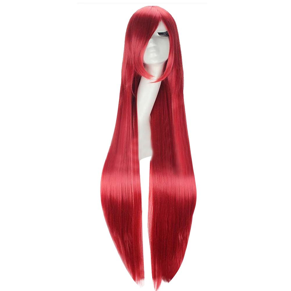 100cm Colorful Cosplay Long Straight Hair Extensions Wig for Masquerade Party Halloween Christmas Costume Props Red