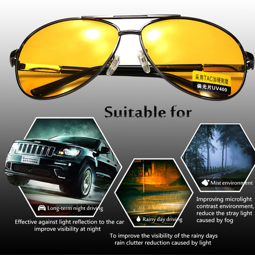 00c023a001e Product details of 2Pcs Polarized Yellow Lens Sunglasses Night Driving  Vision Glasses Eyewear UV400