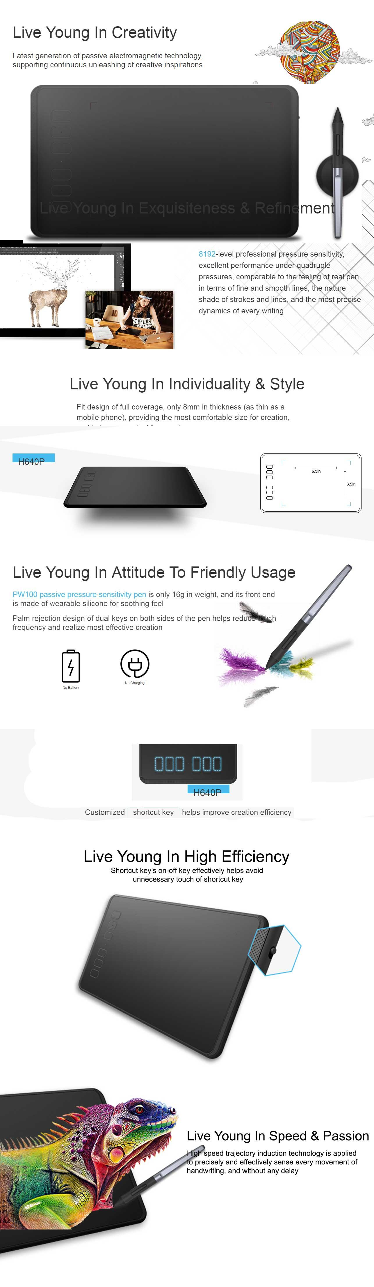 Huion Inspiroy H640P Battery-free Pen Tablet