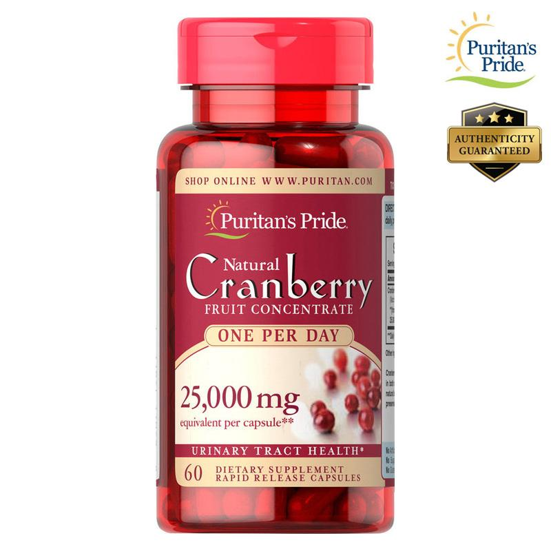 Puritan's Pride Cranberry 25000mg 25,000 mg 60 Capsules Fruit Concentrate - Kidney, Bladder & Urinary