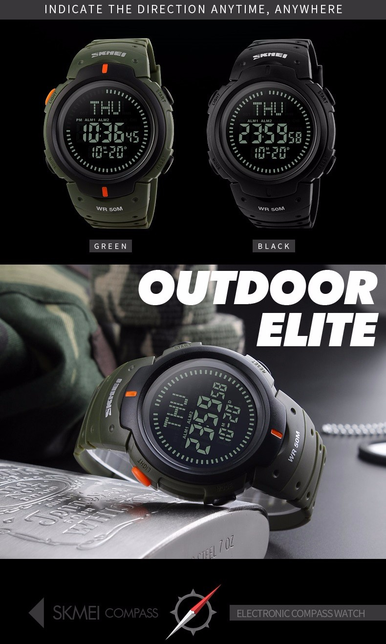 New Brand Outdoor Sports Compass Watches Hiking Men Watch Digital Led Electronic Watch Man Sports Watches Chronograph Men Clock And To Have A Long Life. Digital Watches Men's Watches
