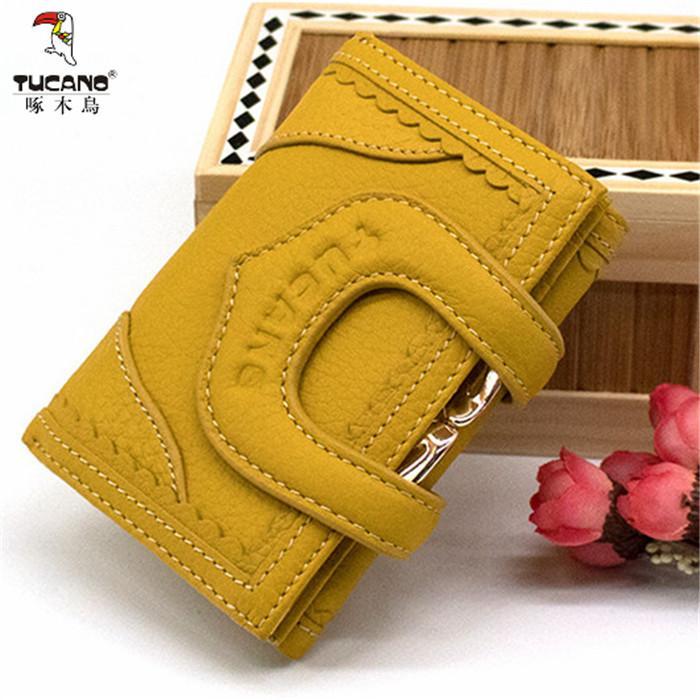 Korea Fashion Style Perempuan Produk Asli Ayat Pendek Dompet Dompet (Kuning Ukuran Sedang 0582)