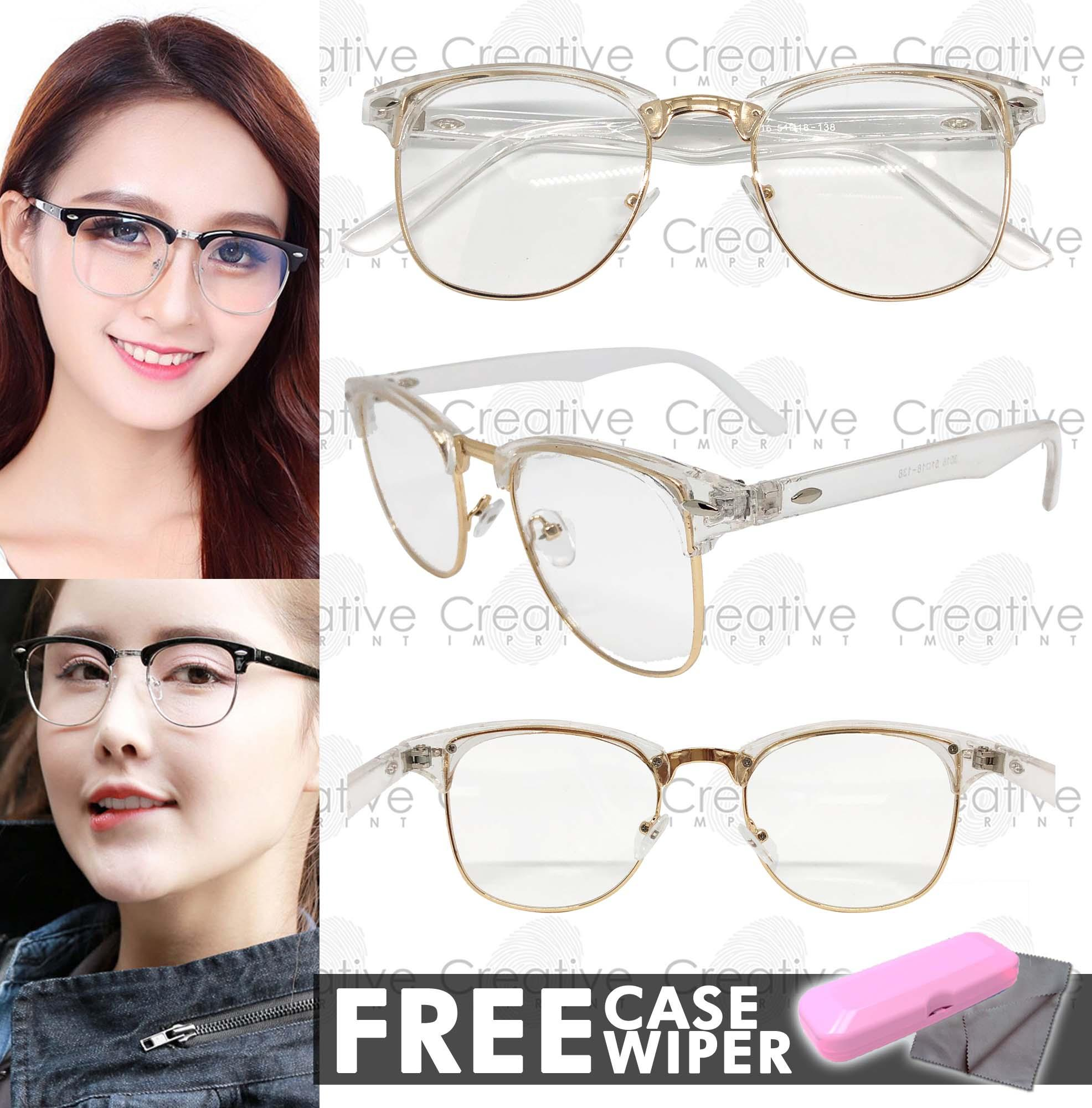 30cc07682da Creative Imprint Eyeglasses Replaceable Lens (Clubmaster  01 White Gold)  Premium High Quality Specs