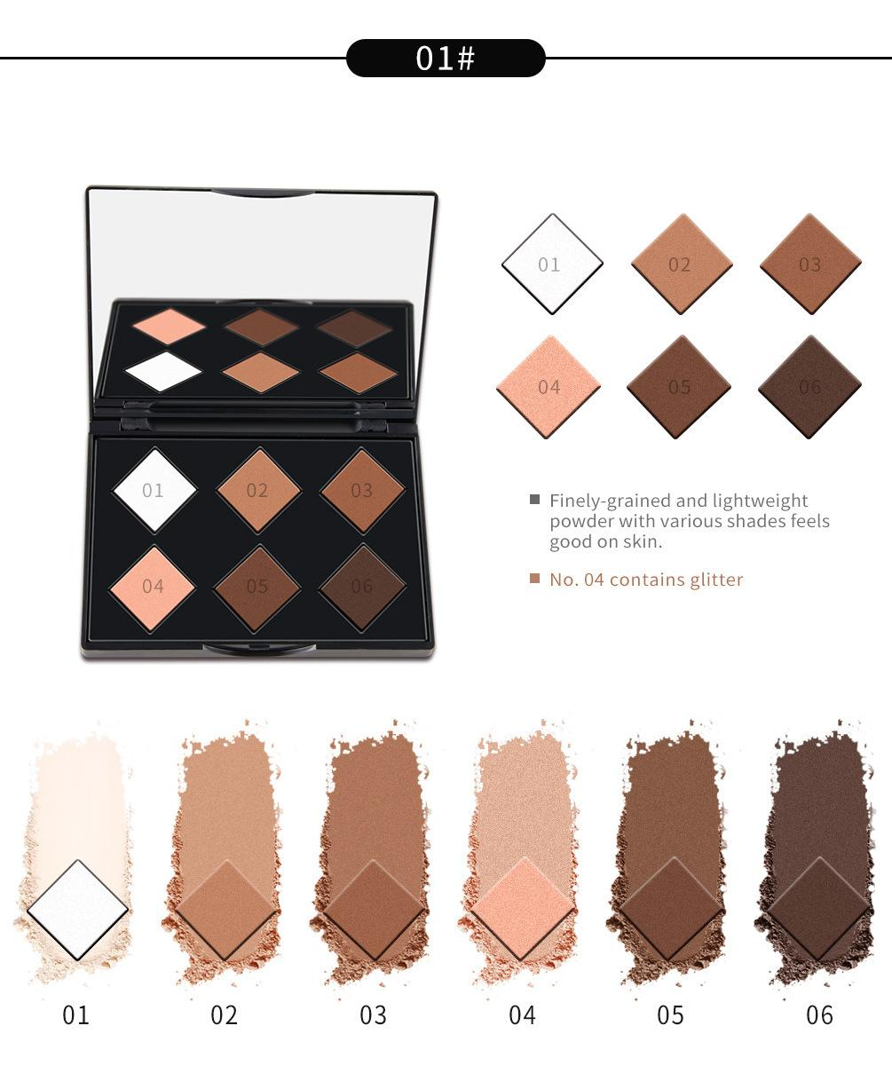 NICEFACE 6 Color Face Contour Highlighter Bronzer Pressed Powder Palette Smooth Concealer 3D Finish Shading Powder Makeup Philippines