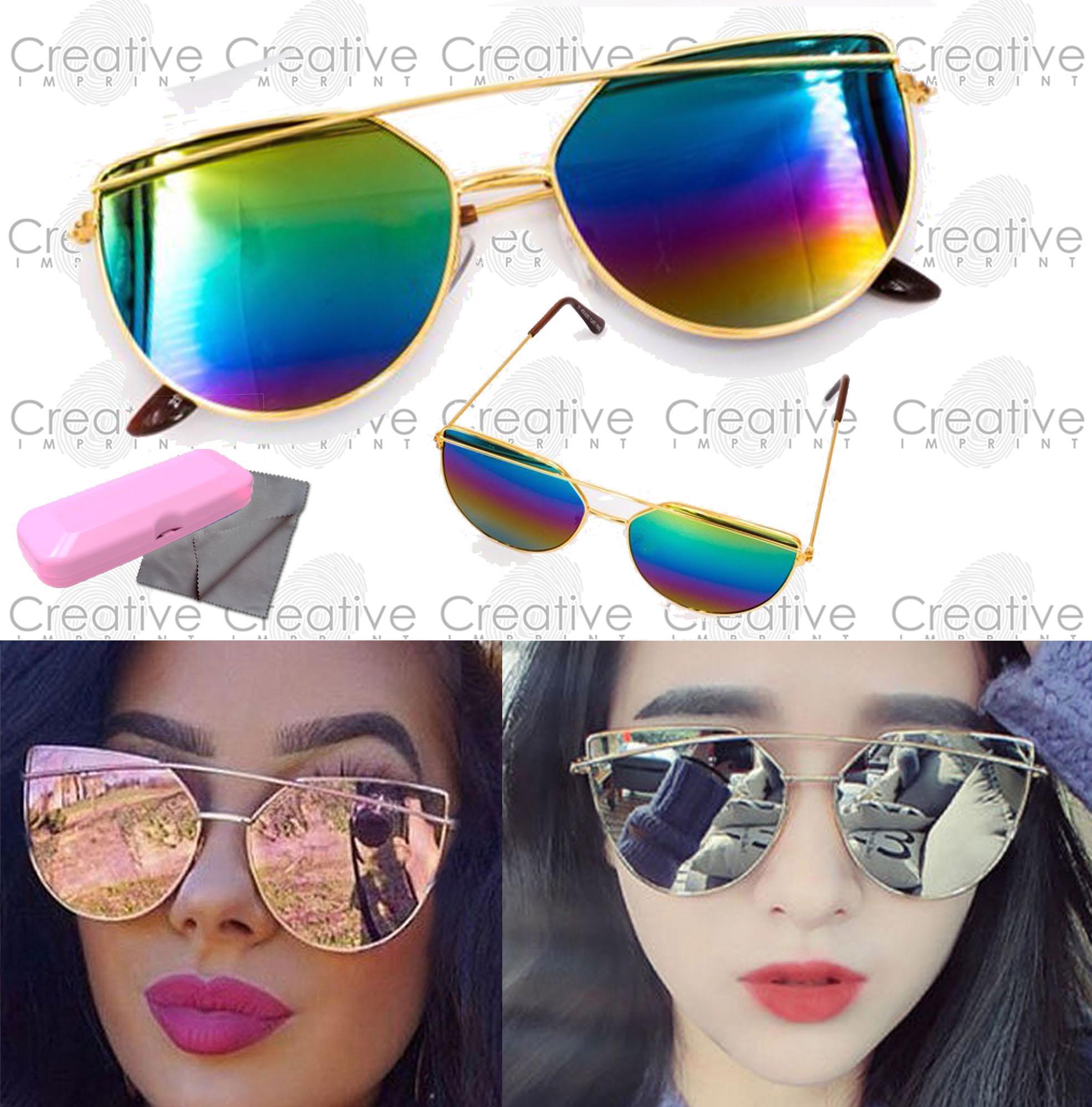 6ef2c544206 Creative Imprint Oversized Double Bridge Cat Eye (Rainbow Lens Gold Frame)  Light Metal Frame